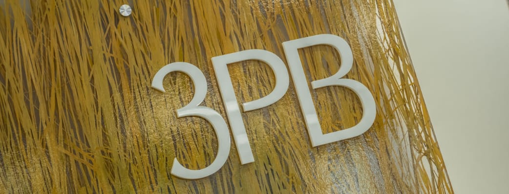 3PB logo on the reception wall