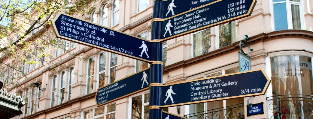 Signposts in Birmingham
