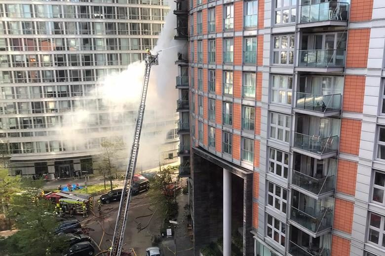 A picture of the tower block fire at New Providence Wharf in East London
